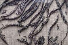 Bj 886 Birka 'Textile' Fragment, when looking at the enlarged photos, it seems to be silver posament-work. Viking Garb, Viking Reenactment, Viking Men, Viking Dress, Viking Life, Medieval Costume, Norse Clothing, Clothing And Textile, Viking Embroidery