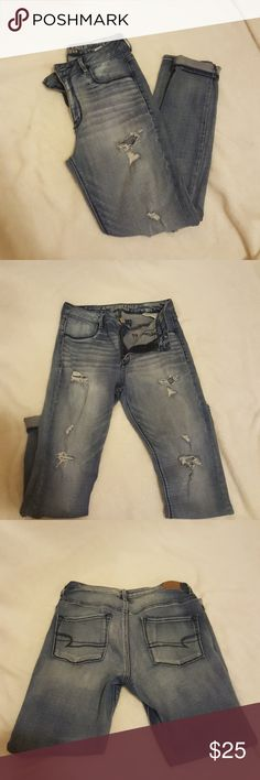 AEO Jeans Size 8 Great condition. The front pockets are just for show and don't actually open. Very stretchy. Style is Sky High Jeggings. Size 8 American Eagle Outfitters Jeans Skinny