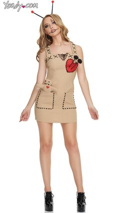 Seductive Voodoo Doll Costume, Sexy Voodoo Doll Costumes, Adult Women Scary Costumes