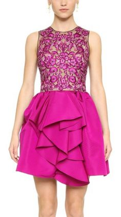 Fuchsia, embroidered cocktail dress with cascading ruffle front