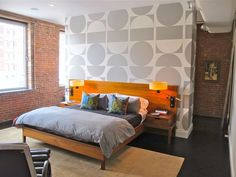 room divider wall with bold wallpaper