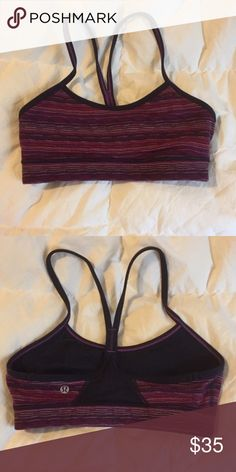 Lululemon Flow Y Bra sz 4 Space Dye Twist Excellent condition. Size 4. Pads included upon request. Space dye twist in regal plum. lululemon athletica Intimates & Sleepwear Bras