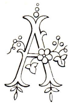 Monograma para bordado a mano - la letra A