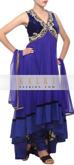 Buy Online from the link below. We ship worldwide (Free Shipping over US$100)   http://www.kalkifashion.com/royal-blue-anarkali-suit-embellished-in-zardosi-neckline-only-on-kalki.html