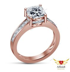 1 CT Cushion Cut D/VVS1 Diamond Solitaire With Accents Women's Engagement Ring 5 #Affoin8 #SolitairewithAccentsEngagementRing