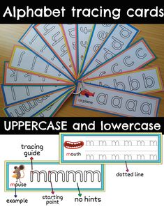 Alphabet tracing cards set with correct formation perfect for practicing tracing and recognition of letters and fine motors skills. This is a visual and interactive way to teach students handwriting. Kindergarten Blogs, Kindergarten Writing, Teaching Reading, Alphabet Tracing, Alphabet Activities, Teacher Resources, Science Resources, Teaching Ideas, Prek Literacy