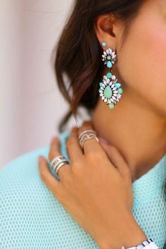 The Best Spring Accessories For 2015 Mint Earrings, Turquoise Earrings, Cheap Earrings, Jewelry Accessories, Fashion Accessories, Fashion Jewelry, Women's Fashion, Ladies Fashion, Piercings