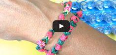 Bracelet Elastique Bouton de rose  Rainbow Loom Francais