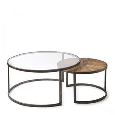 Shop Cameron Coffee Table Set van View our entire collection of handmade furniture and accessories now. Large Table, Small Tables, Round Coffee Table Sets, Handmade Furniture, Table And Chairs, Table Settings, Glass, Sitting Area, Home Decor