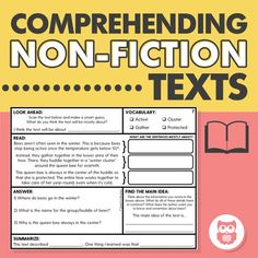 Target main idea, summarizing, vocabulary, and reading comprehension with these supported worksheets targeting comprehending non-fiction texts. Perfect for middle school SLPs who do language speech therapy! From Speechy Musings.