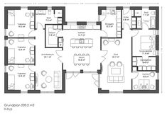 220 H-hus - fremtidens typehuse trygt og sikker 4 Bedroom House Plans, New House Plans, Dream House Plans, House Floor Plans, Apartment Plans, Sims House, Cabin Plans, House Layouts, Big Houses