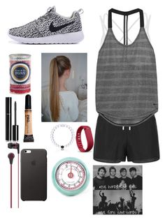 """""""My Obsession with Makeup is a Real Problem... So I Jogged."""" by its-sarah02 ❤ liked on Polyvore featuring La Isla, NIKE, L. Erickson, Chanel, Skullcandy, Everest, Fitbit and Kikkerland"""