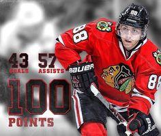 100 points for Mr. Showtime, Patrick Kane. 4/3/16 Blackhawks vs. Bruins