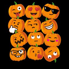 Pumpkin Emoji Faces T-Shirt Emoji Halloween Costume - NeatoShop
