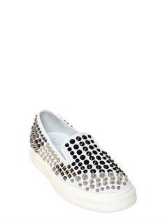 GIUSEPPE ZANOTTI - GRADIENT STUDDED SUEDE SLIP ON SNEAKERS