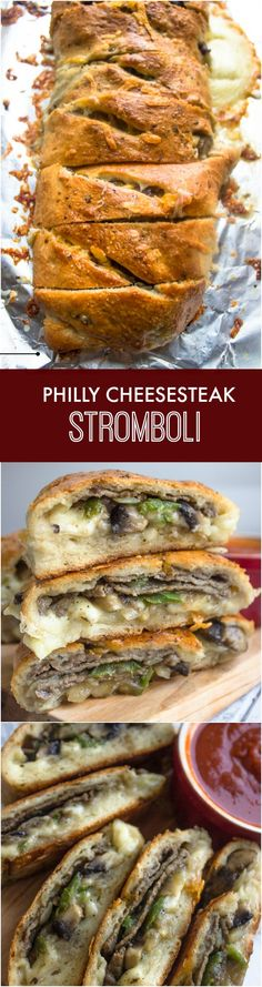 Philly Cheese Steak Stromboli ~This stromboli is the the perfect combo of pizza and cheese steak. It's packed with thinly sliced steak, mushrooms, onions, green peppers, and cheese of course. The best! Made this We all loved it! I Love Food, Good Food, Yummy Food, Food Dishes, Main Dishes, Steak Wraps, Beef Recipes, Cooking Recipes, Le Diner
