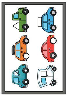 Thema vervoer; spellen voor kleuters   Klas van juf Linda Transportation Activities, Preschool Worksheets, Make A Wish, Garage, Clip Art, Math, Comics, Learning, Vw Beetles