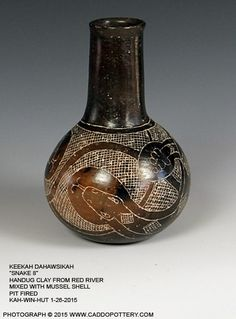 """Keekah Dahawsikah """"Snake 8"""" traditional Caddo snake bottle handmade by Chase Kahwinhut Earles with hand dug clay and pitfired the ancient way. This pot is now in the permanent collection at the Caddo Mounds Museum in Alto, TX."""