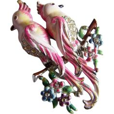 Rare CORO DUETTE Love birds Enameled Bird of paradise signed rhinestone belly fur clip pin duet