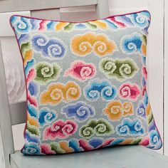 "Kaffe's ORIENTAL CLOUDS 16"" needlepoint cushion kit design"