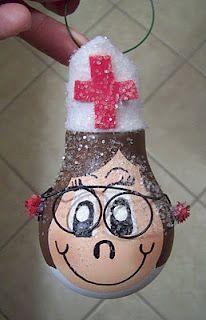 nurse light bulb ornament