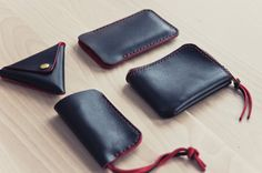 http://chicerman.com  northwardhandcraft:  Travel Kit Horween Leather Mini Zip Wallet  Triangle Coin Purse  Iphone Case  Key Holder  Horween Devils Eye Red  #accessories