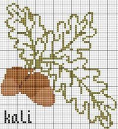 une petite grille de feuilles de chêne avec ses glands les coloris DMC , 435 , 433 , 436 , 732 et la grille ICI a tout l heure Bisous