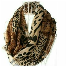 "Leopard  Print Scarf Gorgeous  brown leopard  print chiffon scarf, measures 62"" long, 15"" wide. NWOT Accessories Scarves & Wraps"