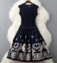 Navy Blue Knitted Embroidered Dress