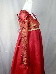 Renaissance Costume, Renaissance Fashion, Masquerade Costumes, Burgundy And Gold, Gowns With Sleeves, Playing Dress Up, Pleated Skirt, Cool Outfits, Fantasy Outfits