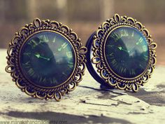 "The Time Is Now - Romantic steampumk vintage plugs for stretched ears in sizes 3/4"" (19mm) to 1"" (25mm) on Etsy, $36.33"