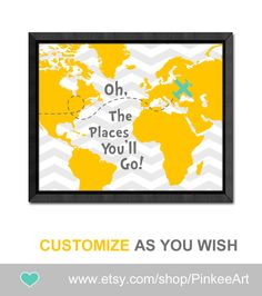 dr seuss oh the places nursery gift ideas yellow gray dr seuss nursery baby wall decor world map baby decor kids room decor playroom art by PinkeeArt on Etsy https://www.etsy.com/listing/200331629/dr-seuss-oh-the-places-nursery-gift