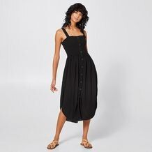 For a great, lightweight dress that will be reached for over and over again, the Lily Loves black shirred midi dress will be one worn for seasons to come. Black Midi Dress, New Look, Dress Skirt, Size 10, Lily, Target, My Style, Australia, Skirts