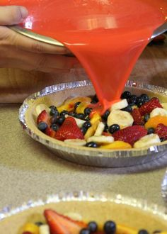 Fresh Fruit Pie - Perfect for Summer, made with vanilla pudding and strawberry jello