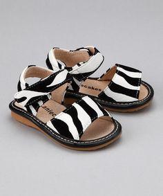 Look at this #zulilyfind! Laniecakes Zebra Squeaker Sandal by Laniecakes #zulilyfinds