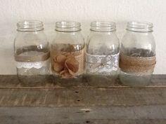 Mason Jars, Rustic Chic Wedding Decor, Set of 4, Wedding Centerpieces