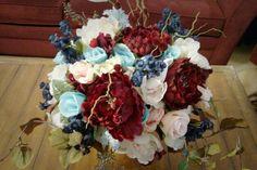 Navy, Maroon, Light Pink, and Ice Blue Wedding - Beautiful Wedding Bouquet. Popular Wedding Flowers 2015