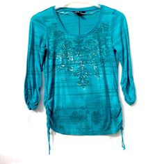 Blue Long Sleeved Top Gorgeous turquoise top. Cinched at sleeves, and slightly on lower sides. Has ties hanging from both sides. Great mint condition. Style & Co Tops Tees - Long Sleeve