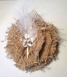 shabby chic Burlap fabric flower with white by DeesDazzleDesigns, $3.99