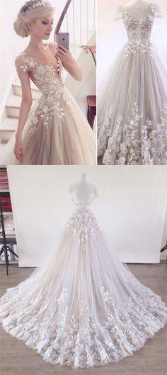 elegant illusion tulle bridal dress with lace appliques, fashion court train flower wedding dress with lace appliques #homecomingdresses
