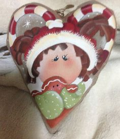 Christmas Heart by NonSoloColori on Etsy Christmas Hearts, Diy Christmas Gifts, Christmas Stockings, Christmas Decorations, Painted Ornaments, Santa Ornaments, Rock Crafts, Arts And Crafts, Decorative Painting Projects