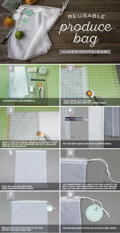 Get farmer's market ready with our sewing tutorial for reusable produce bags… More