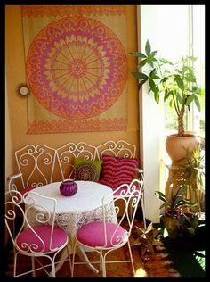 balcony pink orange gold white