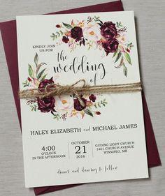 Marsala Wedding Invitation Suite, Burgundy Pink, Bohemian Wedding Invite Set, Rustic Floral Wedding Invitation, Boho Chic wedding