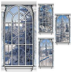 This Winter Wonderland Window Panel Standee Set includes four printed window scenes showing off a snow-covered background.