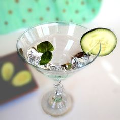 During the summer, my basil plants go crazy--as much as I love basil, I just can't use it all.  This cocktail looks perfect--fresh and clean.