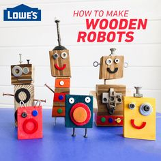 Use items you already have around the house to create fun and easy DIY wooden robots with your kids.