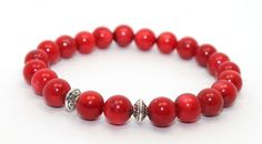 Natural Red Coral and Bali Silver Rondelles Stretch Bangle Bracelet | AyaDesigns - Jewelry on ArtFire