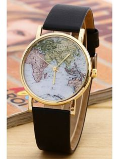 Fashionable Trend Designer World Map Watch Trend Leather-based Alloy Ladies Informal Analog Quartz Wrist Watches ladies Free delivery - Silver Jewellery 925 - SHOP NOW Fossil Watches For Men, Cool Watches, Wrist Watches, Black Watches, Map Watch, Vintage Watches, Quartz Watch, Fashion Watches, Bracelet