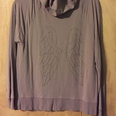Victoria's Secret Angel Zip Hoodie:Purple Only worn once. Still in like new condition. Angel Wings on the back. No stains, rips, holes, or fading. Very comfortable soft fabric. Size Large. Victoria's Secret Tops Sweatshirts & Hoodies